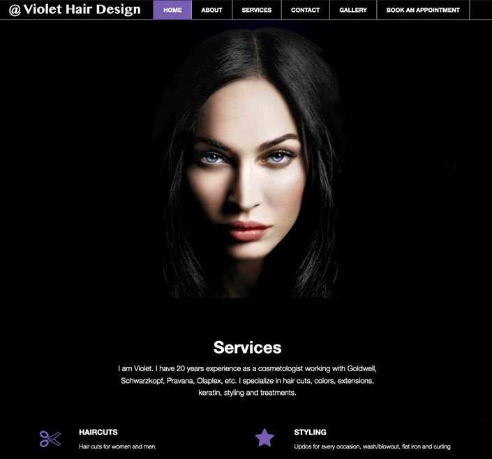 Website Design 7 work 0001 violet hair design